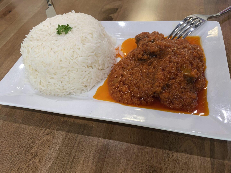 White Rice + Stew Beef