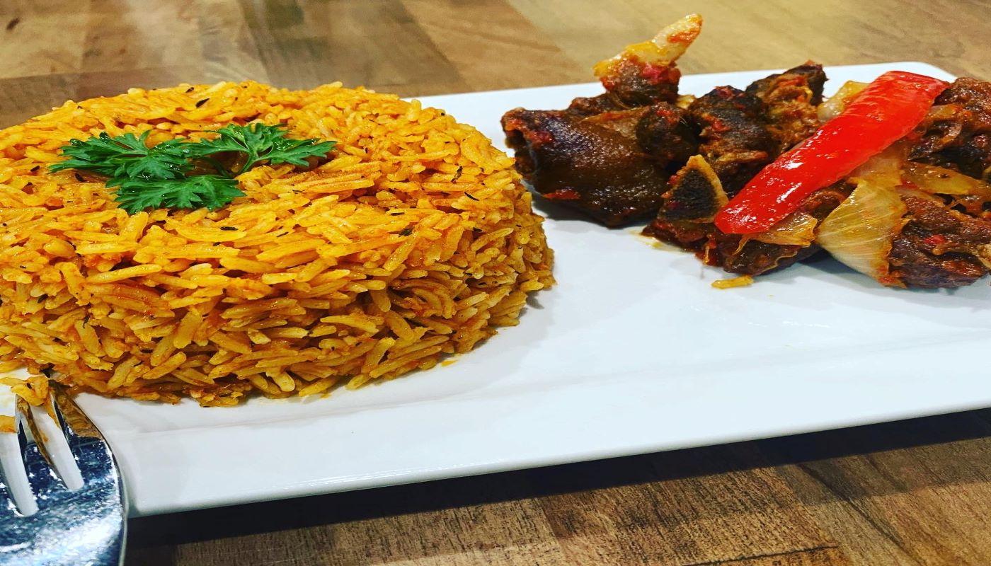 Jollof Rice + Goat Meat